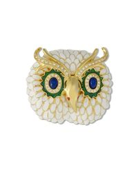 Kenneth Jay Lane | White Owl Brooch | Lyst