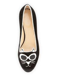 Charlotte Olympia - Black Grunge Kitty Velvet Loafer - Lyst