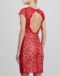 Alice + Olivia - Red Alice Olivia Clover Capsleeve Eyelet Dress - Lyst