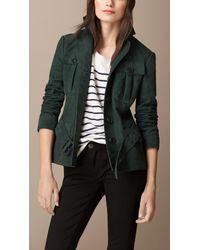 Burberry | Green Nubuck Field Jacket | Lyst