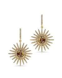 Anne Sisteron | 18kt Yellow Gold Starburst Diamond Earrings | Lyst