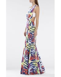 BCBGMAXAZRIA - Multicolor Zhanna Printed Open-back Gown - Lyst
