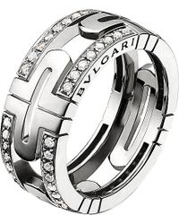 BVLGARI | Metallic Parentesi 18Ct White-Gold And Pavé-Diamond Ring - For Women | Lyst