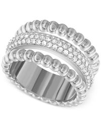 Swarovski | Metallic Click Rhodium-plated Crystal Ring | Lyst
