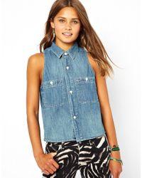Ralph Lauren | Blue Sleeveless Chambray Shirt | Lyst