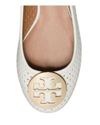 Tory Burch - White Reva Perforated Leather Ballet Flats - Lyst