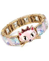 Betsey Johnson - Metallic Gold-tone Cat Crystal Stone Stretch Bracelet - Lyst