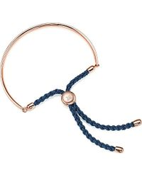 Monica Vinader - Black Fiji 18ct Rose Gold-plated Friendship Bracelet - Lyst
