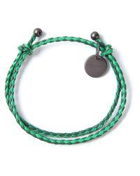 Bottega Veneta - Green Bicolour Woven Bracelet - Lyst