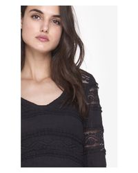 Express - Black Tiered Lace V-neck Long Sleeve Layering Tee - Lyst