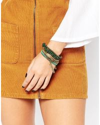 Pieces | Green Vioka Multipack Bracelets | Lyst