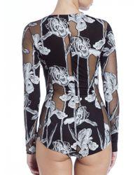 Thakoon - Black Printed Sheer-panel Bodysuit - Lyst