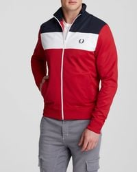 Fred Perry | Red Color Block Track Jacket for Men | Lyst