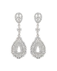 Mikey | White Filligree Crystals Drop Earring | Lyst