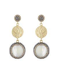 Soru Jewellery | Metallic Mother Of Pearl & Coin Earrings Gold | Lyst