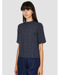 Steven Alan - Blue Decker Top Navy Windowpane - Lyst