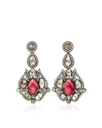 Amrapali | Metallic One Of A Kind Diamond & Tourmaline Chandelier Earrings | Lyst