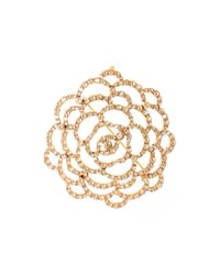 Oscar de la Renta - Metallic Golden Swarovski Crystal Pavé Flower Brooch - Lyst