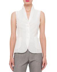 Akris - White Cotton-voile Sleeveless Gilet Blouse - Lyst