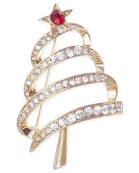 Jones New York - Metallic Gold-Tone Christmas Tree Pin - Lyst