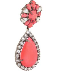 Shourouk | Pink Roma Gunmetal-Tone Crystal Earrings | Lyst