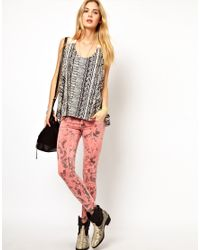 Pepe Jeans - Printed Skinny Jeans - Lyst