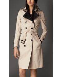 Burberry - Natural Cashmere Detail Gabardine Trench Coat - Lyst