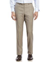 BOSS - Natural Medium Beige Flat Front Wool Dress Pants for Men - Lyst