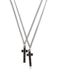 DSquared² | Metallic Double Crucifix Necklace for Men | Lyst