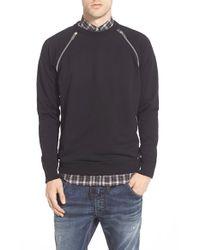 DIESEL - Black Zip Trim Crewneck Sweatshirt for Men - Lyst
