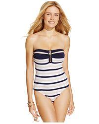 Michael Kors   Blue Michael Striped Zip-front One-piece Swimsuit   Lyst