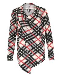 Izabel London - Red Draped Check Print Top With Zip Detail - Lyst