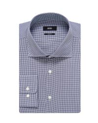 BOSS - Blue 'miles Us' | Sharp Fit, Cotton Textured Dress Shirt for Men - Lyst