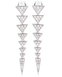 Nikos Koulis | Metallic Long Triangle Drop Diamond Earrings | Lyst