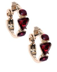 Anne Klein | Red Gold-Tone And Siam Geometric Stone Hoop Earrings | Lyst