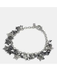 COACH - Metallic Pave Metal Stars Charm Bracelet - Lyst