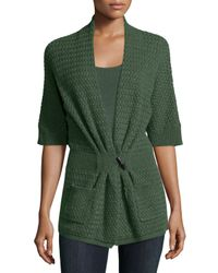 Neiman Marcus - Green Cashmere Basketweave Toggle-front Cardigan - Lyst