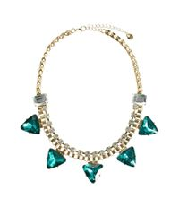 Lipsy - Green Triangle Collar Necklace - Lyst