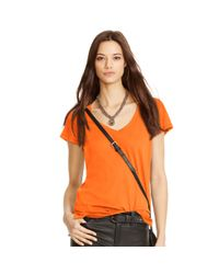 Polo Ralph Lauren | Orange Cotton Jersey V-neck Tee | Lyst