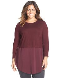 Two By Vince Camuto | Purple Mixed Media Crewneck Tunic | Lyst