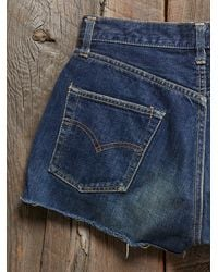 Free People - Blue Vintage Levis Cut Offs - Lyst