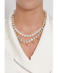 Joomi Lim - White Crystal W Skullpearl Necklace - Lyst