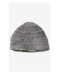 Express - Gray Textured Marl Sherpa Lined Beanie for Men - Lyst