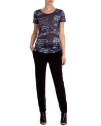 Karen Millen - Blue Indigo Devore Tshirt - Lyst