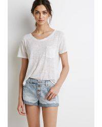 Forever 21 | Blue Mid-rise Cuffed Denim Shorts | Lyst