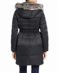 Elie Tahari | Black Silver Fox Fur-trimmed Belted Puffer Coat | Lyst