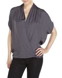 Philosophy | Black Surplice Batwing Top | Lyst