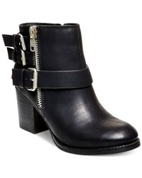 Madden Girl | Black Wicker Mid-heel Moto Booties | Lyst