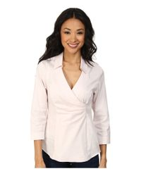 NYDJ - Pink Fit Solution Wrap Blouse - Lyst