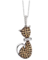 Le Vian | White And Chocolate Diamond (3/4 Ct. T.w.) Cat Pendant In 10k White Gold | Lyst